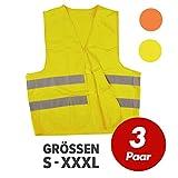 Warnweste, Sicherheitsweste, Pannenweste mit Reflexstreifen EN ISO 20471 - 2 Farben in S, M, L, XL, XXL, XXXL - VPE = 3 Stück, Farbe:gelb, Größe:XXXL