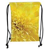 Icndpshorts Yellow,Vibrant Blooming Sun Flower Bridal Botanical Nature Picture for Home Summer Print Decorative,Yellow Soft Satin,5 Liter Capacity,Adjustable String C