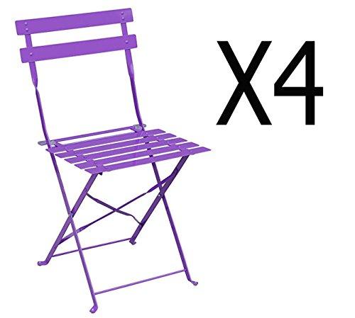 PEGANE Lot de 4 chaises pliantes en acier coloris violet - Dim: 42 x 47 x 81 cm