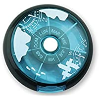 Pastillero semanal de click redondo. 7 compartimentos. 4 colores disponibles. 1 unidad (Azul claro)