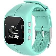 Malloom Reemplazo Suave goma silicona reloj correa banda muñeca para polar A300 fitness Watch (Azul claro)