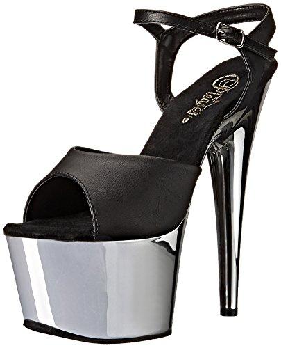 Pleaser Adore-709, Bout Ouvert Femme Blk Faux Leather/Slv Chrome