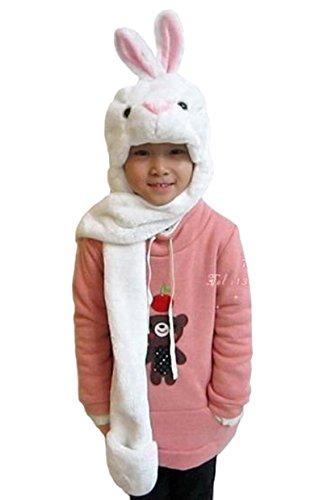 Tonwhar Mütze mit integriertem Schal und Fäustlingen, Unisex mit Tiermotiven Gr. Einheitsgröße, White bunny