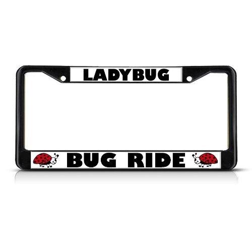 Teisyouhu Bug Ride Auto Marienkäfer Tier Schwarz Studie Metall Chrom Nummernschild Rahmen Tag Halter (Studie Von Bugs)