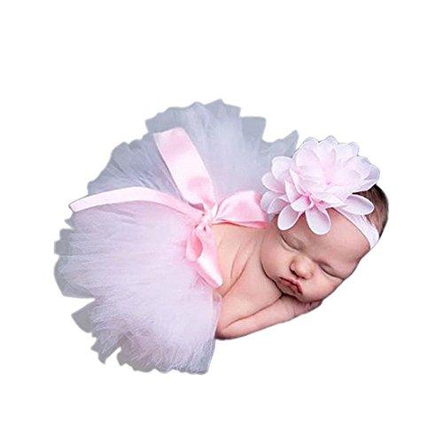 Frbelle Bébé Prop Photographie Infant Nouveau-né BéBé Fille Costume Accessoire Photo Tutu Jupe + Bandeau (0-6 mois)