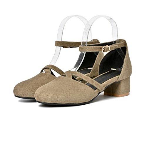 COOLCEPT Damen Mode Knochelriemchen Sandalen Geschlossene Blockabsatz Schuhe Grau