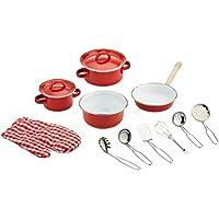 Small Foot by Legler Rotes Kochgeschirr aus Metall, Zubehör für Kinderküchen / Kaufmannsläden, 13 teiliges Set mit Topfhandschuh und Küchenhelfer