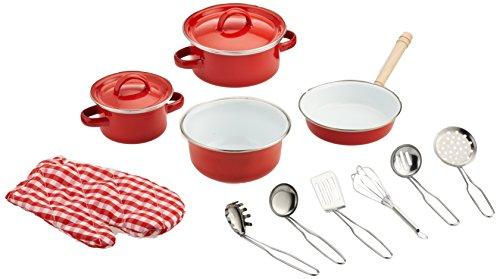 small foot 8964 Kochgeschirr aus Metall, für Kinderküchen, inkl. Topfhandschuh und Küchenhelfer, 13-tlg., ab 3 Jahren - Beliebte Kochgeschirr
