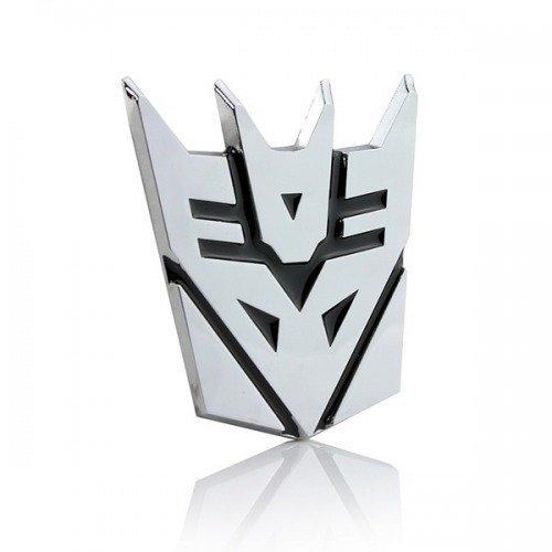 Abzeichen Auto (SKS Distribution® Transformers Decepticon 3D-Chrom-Auto-Emblem-Abzeichen-Aufkleber Aufkleber mittlerer Größe)