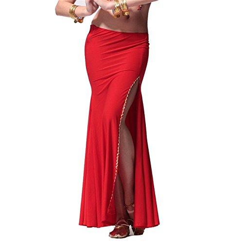 Damen Tanzkleidung Bauchtanz Rock Tribal Tanzen Kost¨¹me Side Slit with Shiny Edge Maxi Rock Red