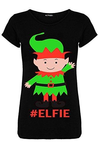Be Jealous Damen Weihnachten Geschäftet Gingerbeard Rentier Candy-stick Schneeflocken Damen Weihnachten Flügelärmel T-shirt Top Lebkuchen Rot