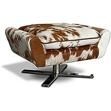 Cómodo reposapiés (piel de vaca, auxiliar taburete, asiento taburete, con cojín, pie de acero inoxidable macizo. Peso 17kg. Imagen en (Real de vaca) marrón de color blanco.