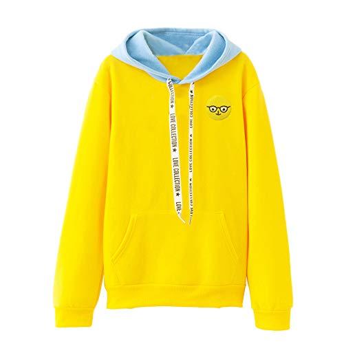 Patchwork Pullover MYMYG Candy Color Langarmshirts Langarm Blusen Tuniken Mode Kostüm mit Kapuze Frauen Rundhals Casual Sweatshirt Pullover Tops(Gelb,EU:36/CN-M)