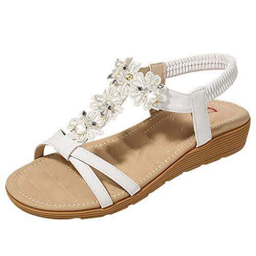 ☀NnuoeN☀ Sandali da Donna Open Toe Bohemia Scarpe Casual da Donna con Bordino Elastico Scarpa da Spiaggia