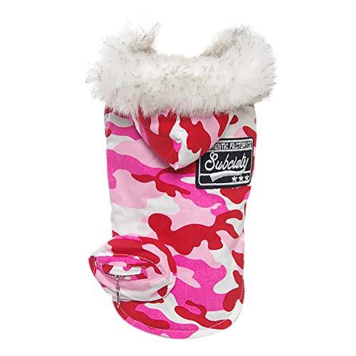 Handfly Hundebekleidung mit Kapuze Wintermantel/Winterjacke Hundekleidung Hundemantel Hundejacke Hundepullover Warm Winter für Kleine und große Hund,Rosa und Blau