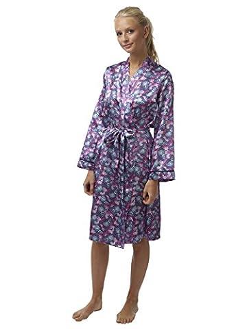 Ladies Charmeuse Satin Kimono Wrap Dressing Gowns Butterfly Print ( 12 UK)