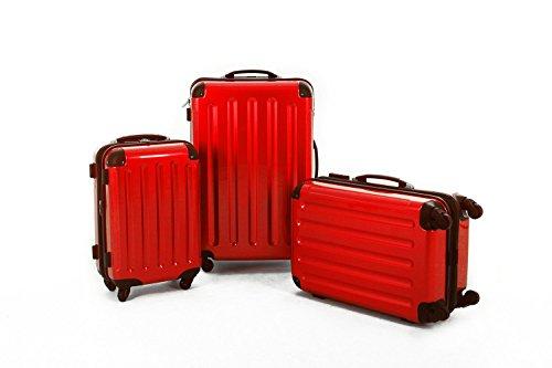 KOFFERSET M L XL Polycarbonat / ABS Trolley Koffer Bordcase Set Hartschale Reisekoffer Kofferset 4 Rollen (Rot)