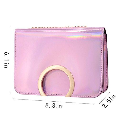 Novias Boutique, Borsa a tracolla donna argento Silver taglia unica Pink