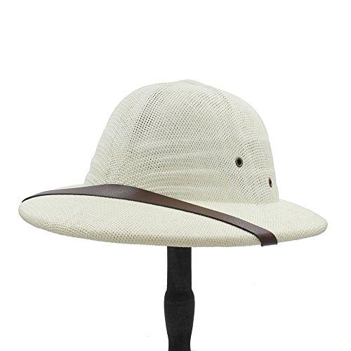 Ying xinguang Neuheit Toquilla Stroh Helm Pith Sonnenhüte für Männer Vietnam Krieg Armee Hut Papa Boater Eimer Hüte Safari Dschungel Bergleute Cap 56-59CM ! (Farbe : 1, Größe : 56-59CM) (Stroh Boater Hut Kostüm)