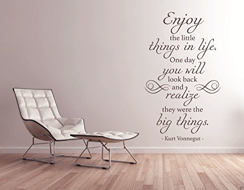 Tjapalo® S Pkm14 Wandtattoo Wohnzimmer Wandtattoo Spruch Zitat Kurt  Vonnegut Enjoy The Little Things In Live Englisch Genieße Die Kleinen Dinge  Flur ...