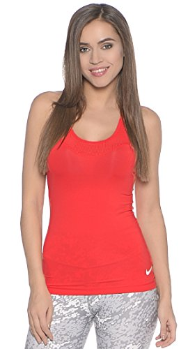 Nike Pro Hypercool Tank - Camiseta para mujer, color naranja / blanco, talla M