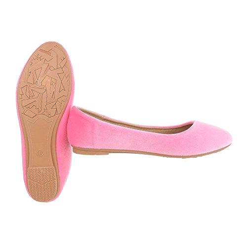 Ballerinas Damenschuhe Geschlossen Blockabsatz Blockabsatz Ital-Design Ballerinas Pink B982H-BL