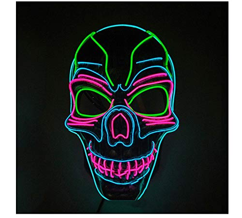 Gruselig Kostüm Paare - wanjuna Halloween Cosplay Beleuchtung Kostüm Maske Gruselige Maske EL Wire Light Up Mask