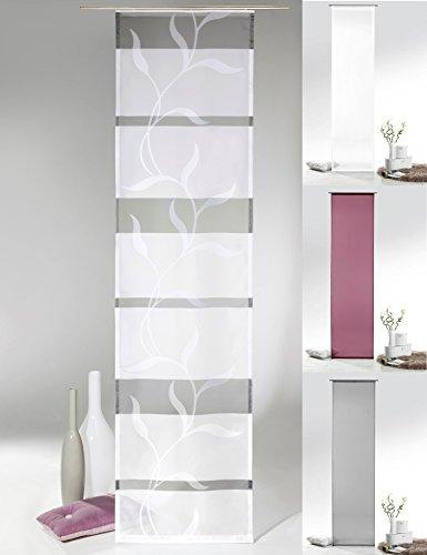 fashion and joy Flächenvorhang in grau weiß mit Ranke inkl. Zubehör HxB 245x60 cm pflegeleicht - Schiebevorhang Modern Chic Gardine Typ414