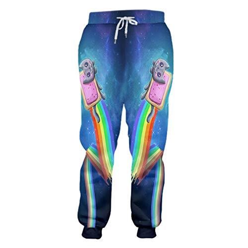 Männer Jogginghose Casual Hosen 3D Harem Hosen Printed Sternenhimmel Katze Trend Kostüm Homme Winter Jogger Hosen Sky Blue L (Sexy Harem Mädchen Kostüm)