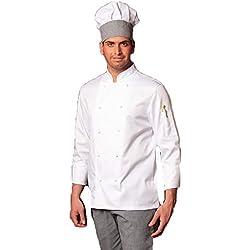 fratelliditalia - Conjunto para chef compuesto por chaqueta y pantalón sal y pimienta, color blanco, incluye gorro de cocina, Hombre, bianco, XXL