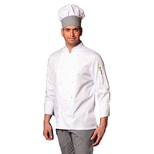 pantalone giacca e davantino tessile astorino completo bianco e pied de poule divisa cuoco chef donna manica corta Made in Italy