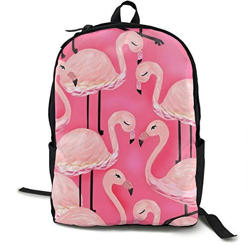 Hot Pink Flamingos Pattern Adult Premium Travel Backpack, Water-Resistant College School Bookbag, Sport Daypack, Outdoor Rucksack, Laptop Bag for Men&Women - Hydro-hot-pack
