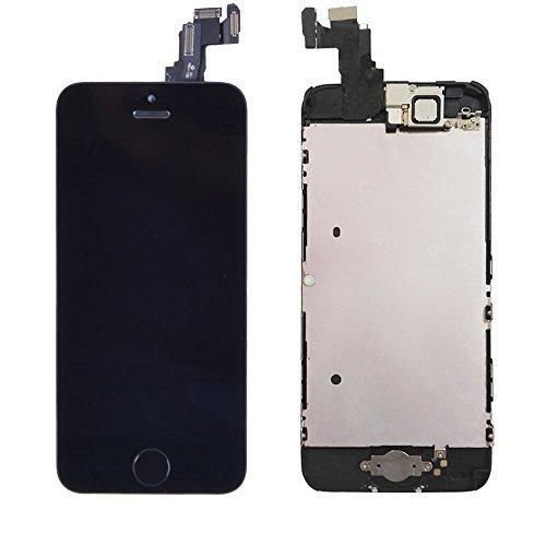 e 5c Schwarz Vormontiert Glas Flexkabel Retina LCD-Touchscreen-Display Ersatzbildschirm Reparatur Komplete Set mit Home Button/Front Kamera/Werkzeug ()