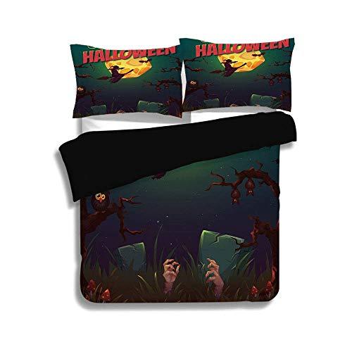 Set, Halloween, Happy Halloween Poster Design Hexe auf Besenpilz Tote Wiederbelebung Vintage dekorativ, mehrfarbig, dekorativ 3 Stück Bettwäsche-Set von 2 Pillow Shams, King Size ()