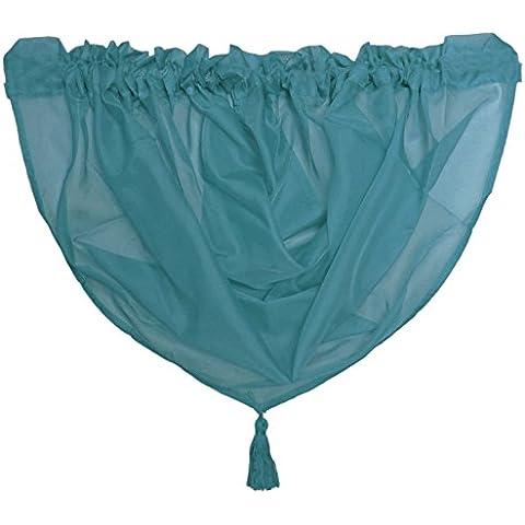 Plain de gasa con borlas Swag–Red) cama para cortinas–ranura superior–Single, Gasa, Teal Blue, 56x45cm