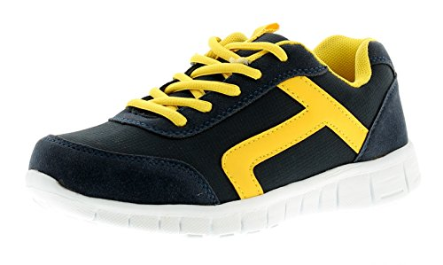 New Older Boys/Childrens Navy/Yellow Lace Ups Trainers - Navy/Yellow - UK SIZE 4