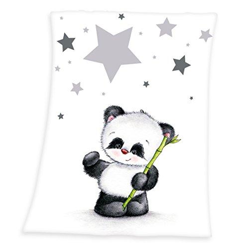 Herding 1440201014 Babydecke Fynn, Motiv: Panda, 100 prozent Polyester, Microfaserflausch, 75 x 100 x 1 cm, weiß