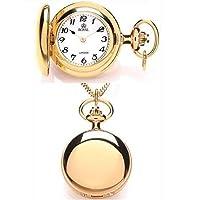 Royal London Pvd Gold Plated Full Hunter Quartz Pendant Necklace Watch
