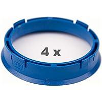 4 x Zentrierringe 66.6 mm auf 57.1 mm blau/blue