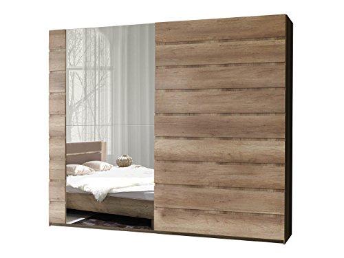 Schwebetürenschrank Miro 12 Modernes Kleiderschrank Mit Spiegel, Garderobe,  Schlafzimmerschrank, Schiebetür Schrank, Schlafzimmer Set (250 Cm/Canyon  Eiche, ...