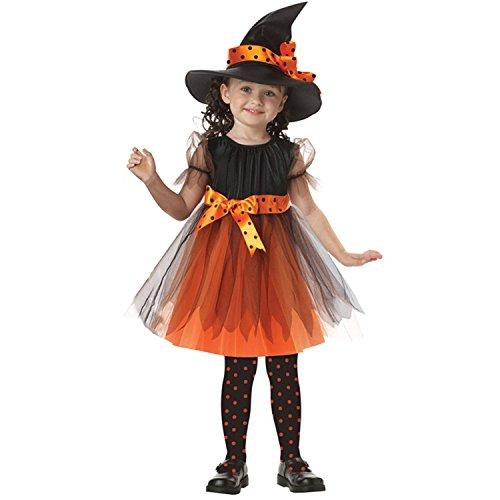 Kind Kostüm Hexe (ZOEREA Mädchen Kinder Hexe Kostüm Zubehör Fairy Halloween Cosplay Partei Abendkleid Halloween Kostüm schwarz orange (3-11 Jahre)