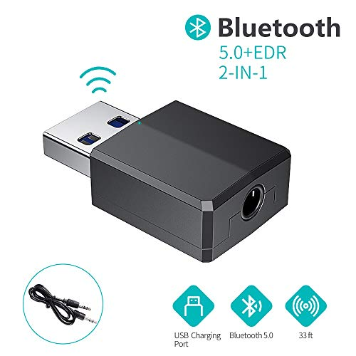 FLYLAND Adaptador Bluetooth,Transceptor de Audio inalámbrico y Receptor Transmisor 2 en 1 5.0 con Cable Auxiliar Digital de 3.5 mm para PC/TV/Auriculares/Altavoces/Radio/Reproductor de CD Auriculares
