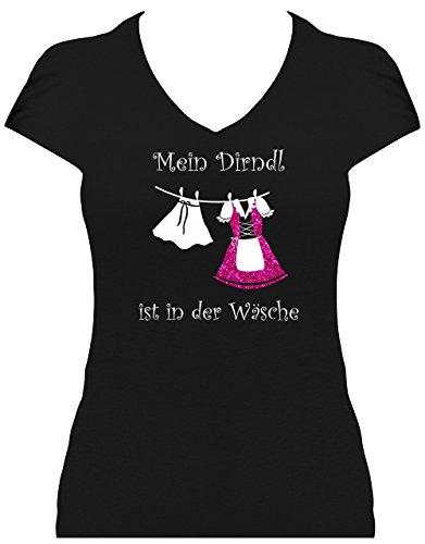Fun Shirt Damen Sprüche Glitzeraufdruck Oktoberfest Wiesn Mein Dirndl ist in der Wäsche pink, T-Shirt, Grösse XL
