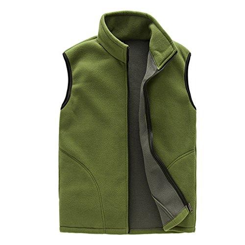 CIKRILAN Herren Fleeceweste Warm Weich Komfort Leicht Full Zip Ohne Arm Jacke Mantel Bodywarmer Outdoorjacke Gilet (X-Large, Grün) (Fleece Full-zip Weste)