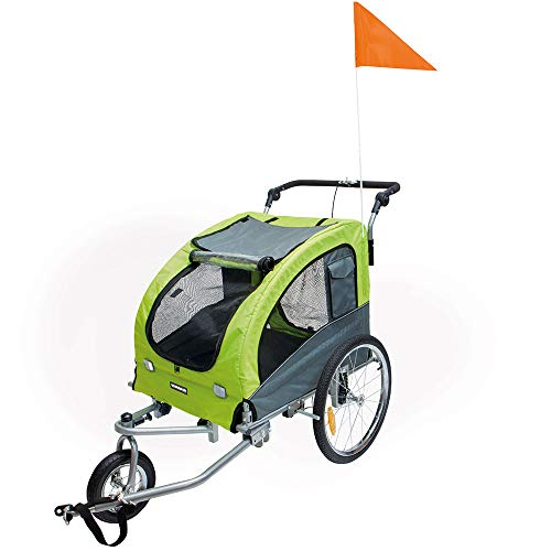 Fahrradanhänger & Jogger Kombi Pet Jogger & Traveler Gr. M - 140 x 80 x 86 cm Farbe Grün besonders wasserabweisend und schnell platzsparend zusammenlegbar