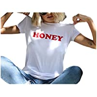 Losait Women Summer HONEY Short-Sleeve Regular Plain Tees Top T-Shirts 5 M