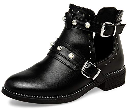 Caspar SBO103 offene Damen Sommer Chelsea Stiefeletten mit Perlen Nieten und Strass, Farbe:schwarz, Größe:38 EU