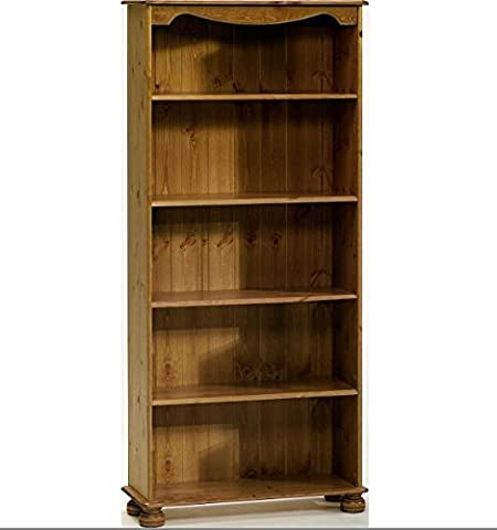 Steens Home Office Pine Bookcase with 4 Shelves - Perfect Bookcases For Any Hallway, Living Rooms, Dining Room, Conservatory and