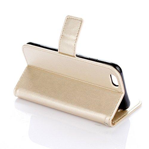 EKINHUI Case Cover Neue Art und Weise Normallack-Mappen-Kasten PU-lederner Buch-Art-Schlag-Standplatz-Fall mit Kartenschlitzen u. Lanyard u. Magnetischer Verschluss für IPhone 6 Plus u. 6s Plus ( Colo Gold