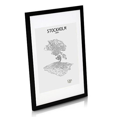 Echtholz Bilderrahmen 50x70 cm - Schwarz - Bilderrahmen mit 40x50 cm Passepartout und Plexiglasscheibe - Poster-Holzbilderrahmen - Rahmenbreite 2cm!